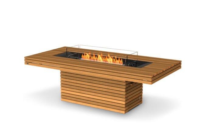 Gin 90 (Dining) Fire Pit - Ethanol - Black / Teak / Optional Fire Screen by EcoSmart Fire