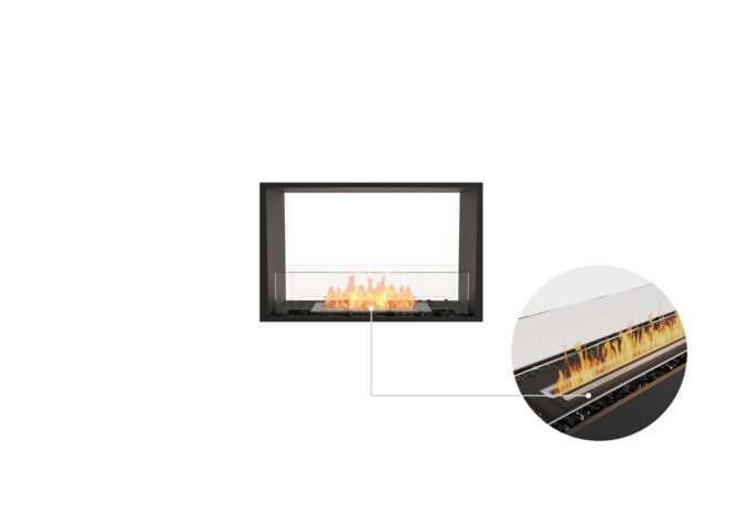 Flex 32DB Double Sided - Ethanol - Black / Black / Installed View by EcoSmart Fire