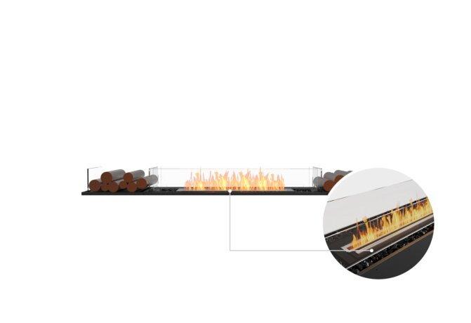 Flex 86BN.BX2 Bench - Ethanol - Black / Black / Installed View by EcoSmart Fire